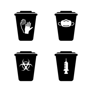 Silhouette set of medical waste containers. Special box for disinfection or utilization of disposable gloves, face mask, syringe, biohazard. Outline emblem of trash can with lid. Isolated vector icon