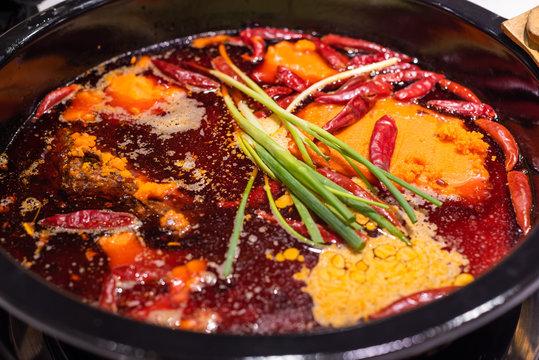 Sichuan boiling hotpot with chili pepper in Chengdu, Sichuan province, China