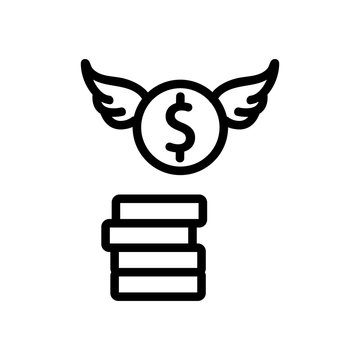 money coins with wings icon vector. money coins with wings sign. isolated contour symbol illustration