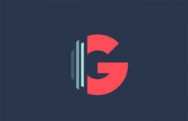 G red blue alphabet letter logo icon for company and business with line design