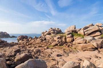 Perros-Guirec, France. Picturesque stones of the Pink Granite Coast