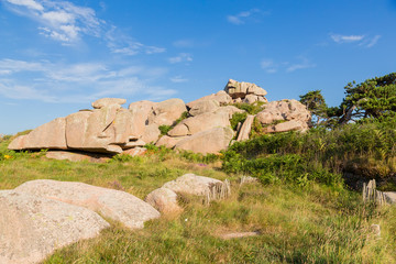 Perros-Guirec, France. Scenic landscape with pink granite rocks