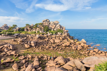 Perros-Guirec, France. Seascape with picturesque coastal cliffs