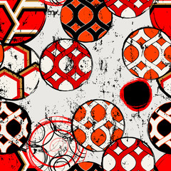 seamless abstract circle pattern, with paint strokes, splashes and geometric lines