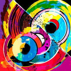 abstract circles modern art inspired illustration, with strokes, splashes and lines