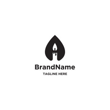 Candle water logo concept. Letter A logo template - vector