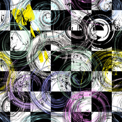 seamless geometric pattern background, retro/vintage style, with circles, squares, strokes and splashes, black and white