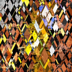 abstract geometric background pattern, retro/vintage style, with rhombus, strokes and splashes