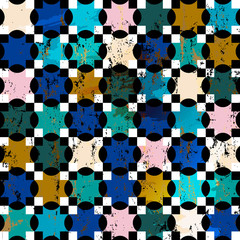 abstract geometric pattern background, with squares, quatrefoil, strokes and splashes