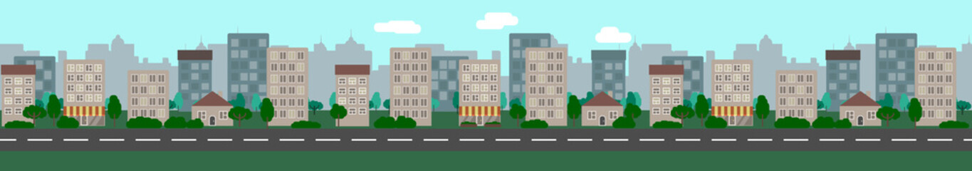 Foto auf AluDibond Licht blau The city landscape with empty road. Prepared for infinite looping. Flat style vector illustration.