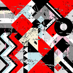 abstract geometric background pattern, with triangles, squares, strokes and splashes
