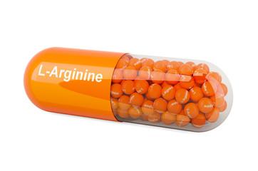 Capsule with L-Arginine, dietary supplement. 3D rendering