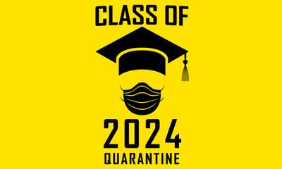 Class of 2024 Graduation Funny Artwork Graphic Print Graduation Hat and Surgical Mask Quarantine