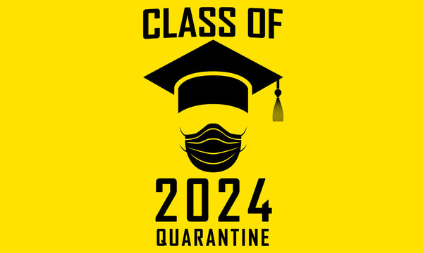 Class of 2024 Graduation Funny Artwork Graphic Print Graduation Hat and Surgical Mask Quarantine
