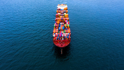 Container cargo ship  import export global business worldwide logistic and transportation, Container ship supply chain crisis, logistic crisis, Aerial view container cargo vessel boat freight ship. Wall mural