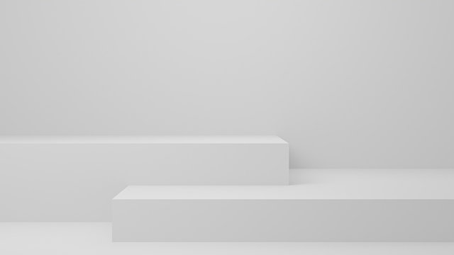 Empty studio product display white . background & copy space. perspective studio photography stand.banner mock up space for showcase product.empty countertop backdrop business presentation, 3d render