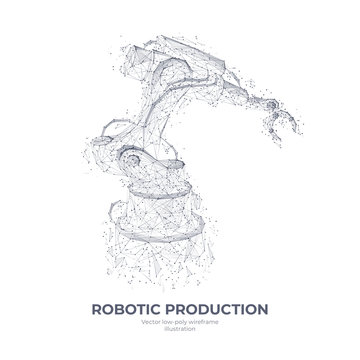 Isolated robotic arm in white background. Industrial technology concept. Abstract polygonal wireframe with lines and dots. Vector sketch drawing. 3d illustration.