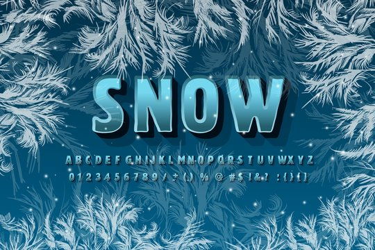 Winter vector alphabet with snow and ice patterns on the background. Abc, ice font, seasonal frost font, typography, or typesetting. Winter Alphabet vector illustration