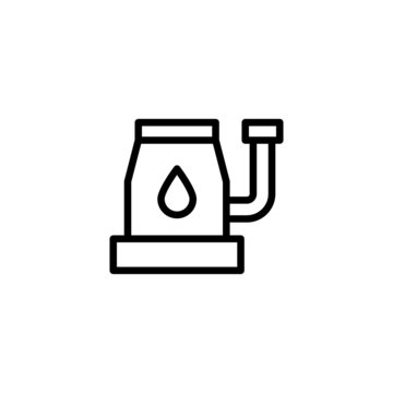Sump pump vector icon in linear, outline icon isolated on white background
