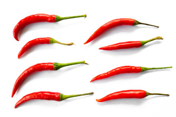 Photo sur cadre textile Hot chili Peppers red hot chili peppers isolated on white