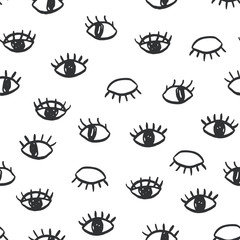 Vector eyes doodle seamless pattern. Trendy website backdrop, wallpaper, textile print design. Minimal scandinavian style, hand drawn illustration.