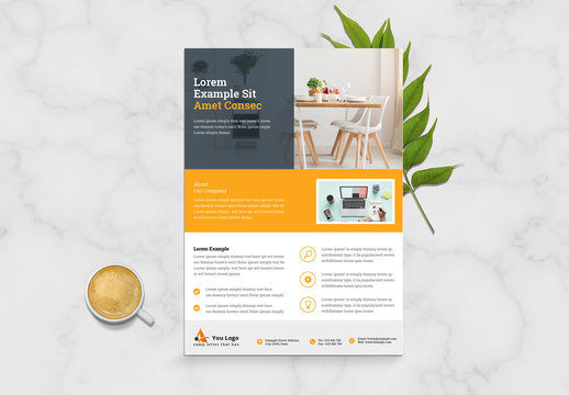Minimal Business Flyer Layout with Black and Yellow Accents