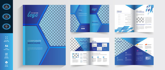 Blue Abstract business brochure template with simple style and modern booklet layout