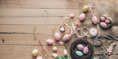 Colored eggs. Easter concept. Decoartion Easter photo.