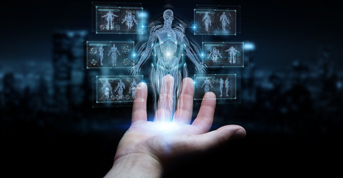 Man hand using digital x-ray human body holographic scan projection 3D rendering