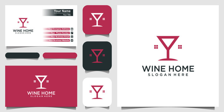 wine house logo design template, home of wine logo inspiration. and business card