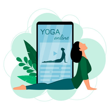The concept of online yoga with a mobile phone. Screen with a girl in a yoga pose. Vector illustration in flat style.