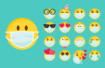 Foto auf Leinwand Texturen Set of emoji with a medical mask on the face. Different round yellow emoticons protect against the spread of coronavirus. Set of emojis for social networks, self-isolation. Flat vector illustration