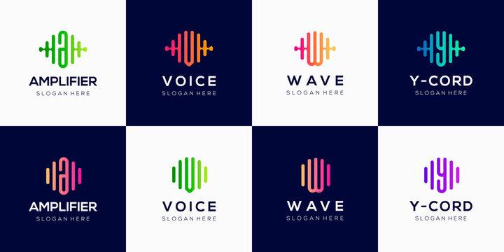 Monogram creative logo design template with pulse element.
