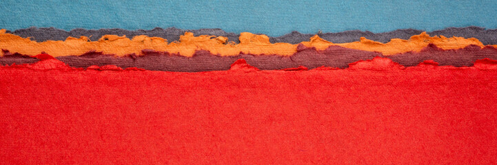 Photo on textile frame Red blue and red abstract landscape created with handmade Indian paper