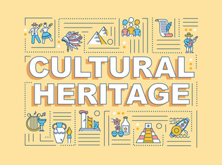Fototapeta Cultural heritage word concepts banner. Historical artifact, custom tradition. Infographics with linear icons on orange background. Isolated typography. Vector outline RGB color illustration obraz