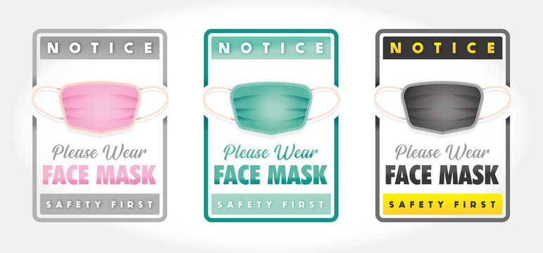 WEAR FACE MASK PLEASE - SET of 3 SIGN A4 - VECTOR - JPEG - PNG - NO BACKGROUND