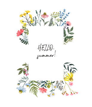 Watercolor wildflower border, isolated on white background. Beautiful summer meadow flowers frame, botanical wreath for cards, invitations. Floral hand drawn illustration