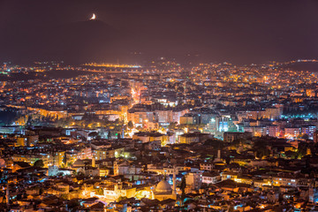 Fotobehang Crimson Night view of the city from Antioch Castle
