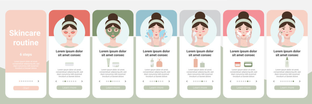 Skincare steps. UI UX mobile app design, onboarding app screen.  Daily skincare routine. Face skin care Step by step set. Minimalistic vector illustration.Different facial proceduresWebsite template