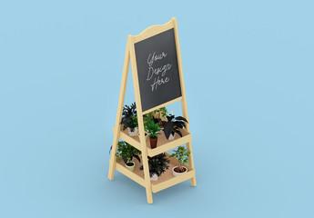 Isometric Wooden Chalkboard Board with Flowers Mockup
