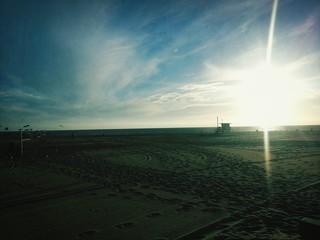 Foto auf AluDibond Blau türkis Scenic View Of Sunset Over Landscape