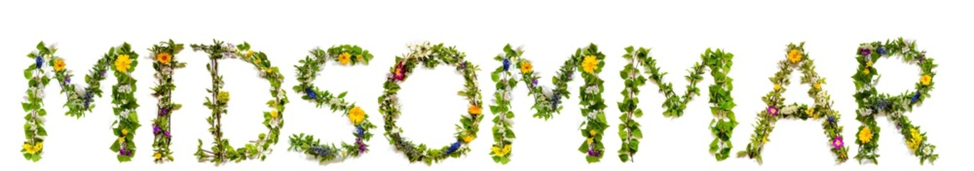 Flower, Branches And Blossom Letter Building Swedish Word Midsommar Means Midsummer. White Isolated...