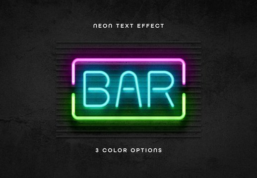 3 Color Neon Text Effect Mockup