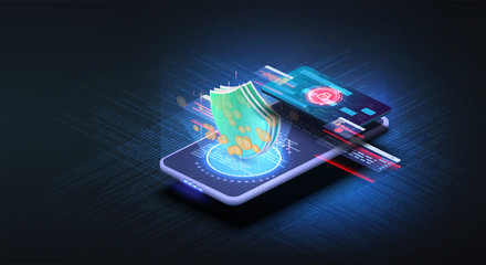 Isometric online payment online concept. Money transfers, smartphone payment services and digital pay. Electronic bill, finance data protection, smartphone with credit card. Concept mobile payments.UX