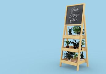 Wooden Chalkboard Board with Flowers Mockup