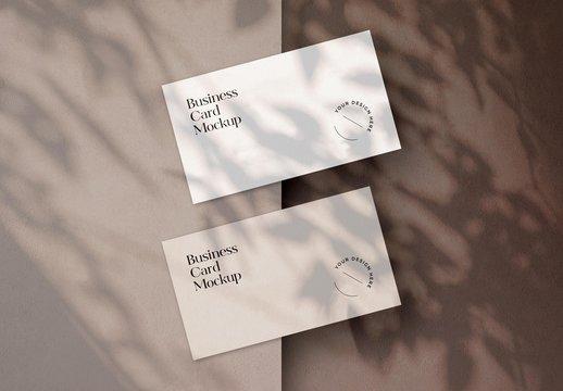 Shadow Overlay Business Card Duo Mockup Scene