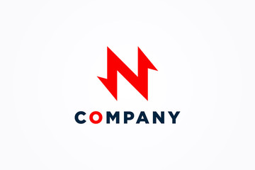 Abstract Initial Letter N Logo. Red Geometric Arrows Flash Thunderbolt Icon. Usable for Business, Technology and Electricity Logos. Flat Vector Logo Design Template Element.