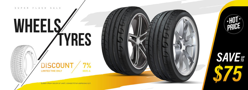Car tire closeup in vector. Advertising banner, outdoor advertising, printing. Wheel tread. Replacing tires, summer winter. Landscape poster, digital banner, flyer, booklet, brochure and web design.