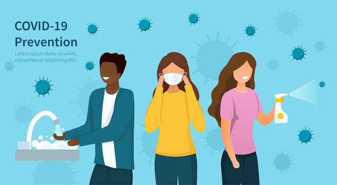 Covid-19 or coronavirus prevention protocols concept with diverse people washing hands, wearing a surgical face mask and spraying sanitiser with copy space for text, colored vector illustration
