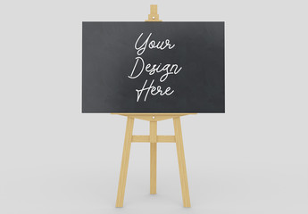 Wooden Easel Stand with Horizontal Chalkboard Display Mockup